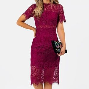 Maroon lace dress - new with tags